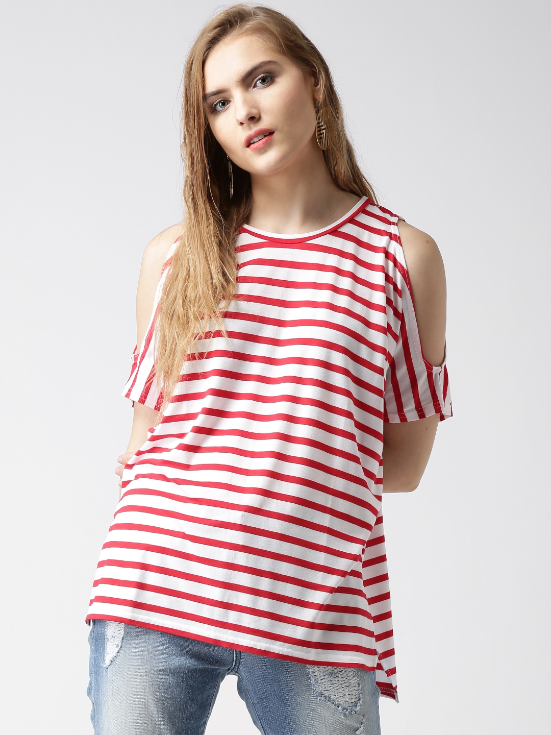 55f4c0b4c82 Buy New Look Red & White Striped Cold Shoulder Top - Tops for Women ...