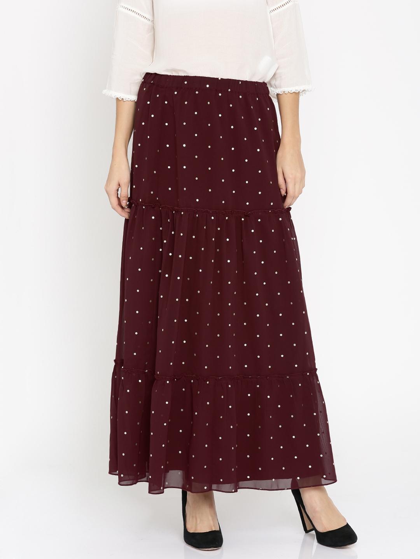 8c78cb3743 Buy DressBerry Maroon Foil Print Maxi Skirt - Skirts for Women ...