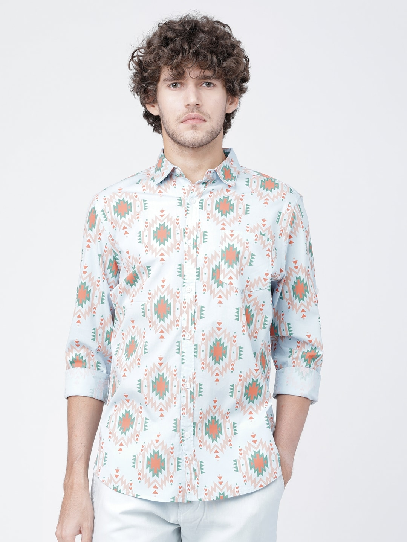 LOCOMOTIVE Men Turquoise Blue   Green Slim Fit Printed Casual Shirt