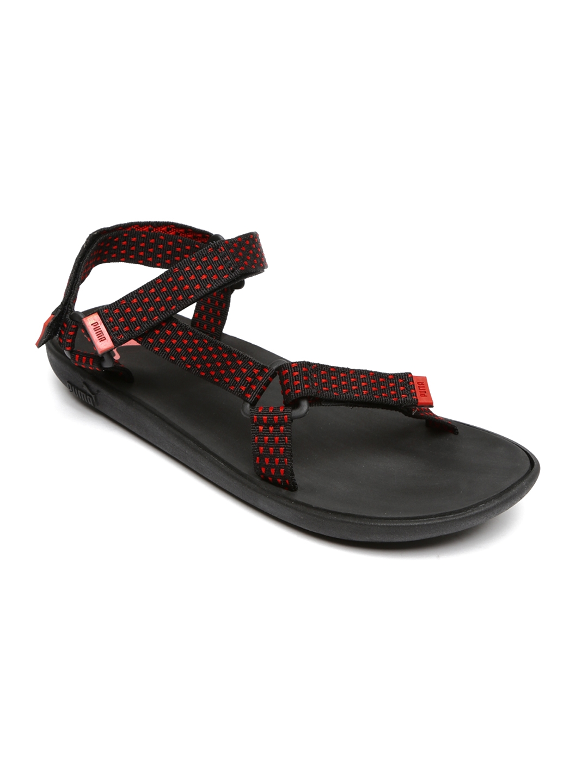 272b85ed3634 Buy PUMA Unisex Red   Black Plato DP Sports Sandals - Sports Sandals ...