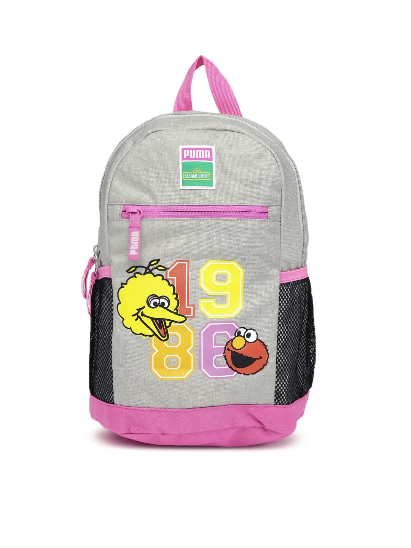 881e57a90d9 PUMA Kids Grey & Pink Printed Sesame Street Backpack