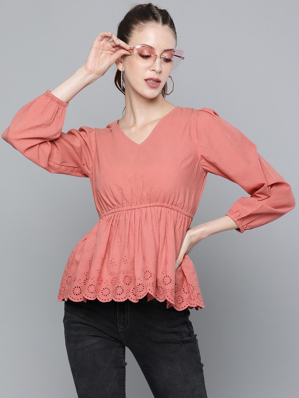 SASSAFRAS Pink Pure Cotton Solid Puff Sleeve Empire Top