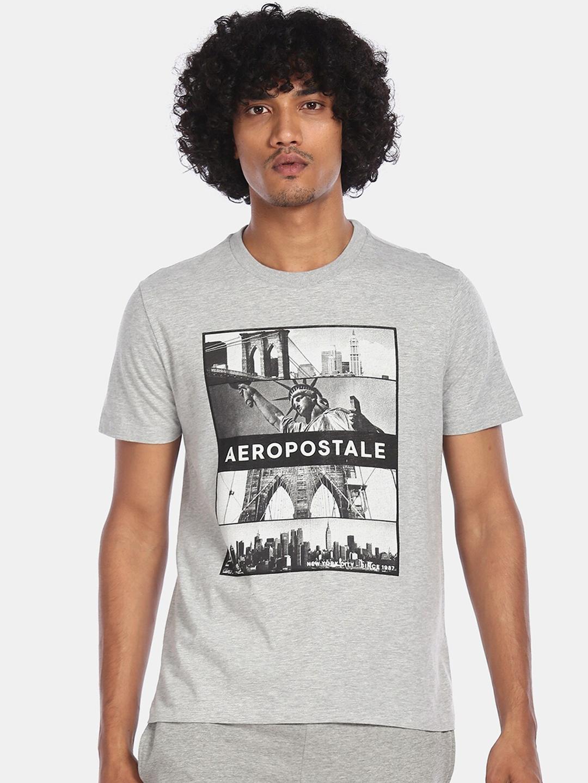 Aeropostale Men Light Grey Graphic Printed Round Neck T shirt