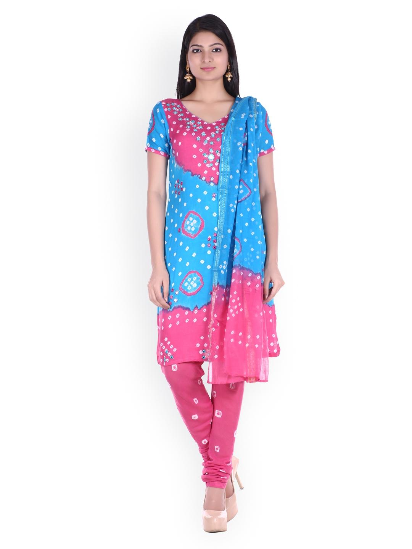 SOUNDARYA Turquoise Blue   Pink Bhandani Printed Unstitched Dress Material