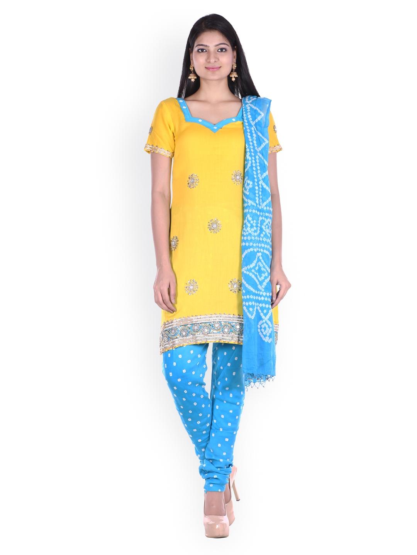 SOUNDARYA Yellow   Blue Bhandani Printed Unstitched Dress Material