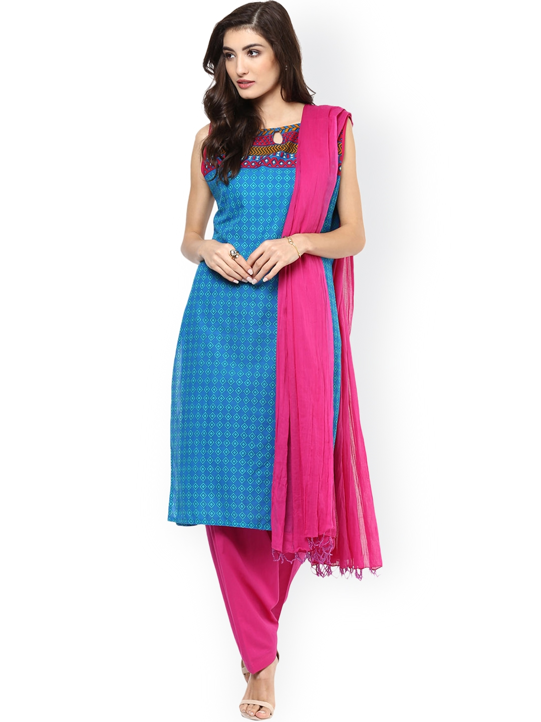 Jaipur Kurti Blue   Pink Printed Salwar Suit with Dupatta