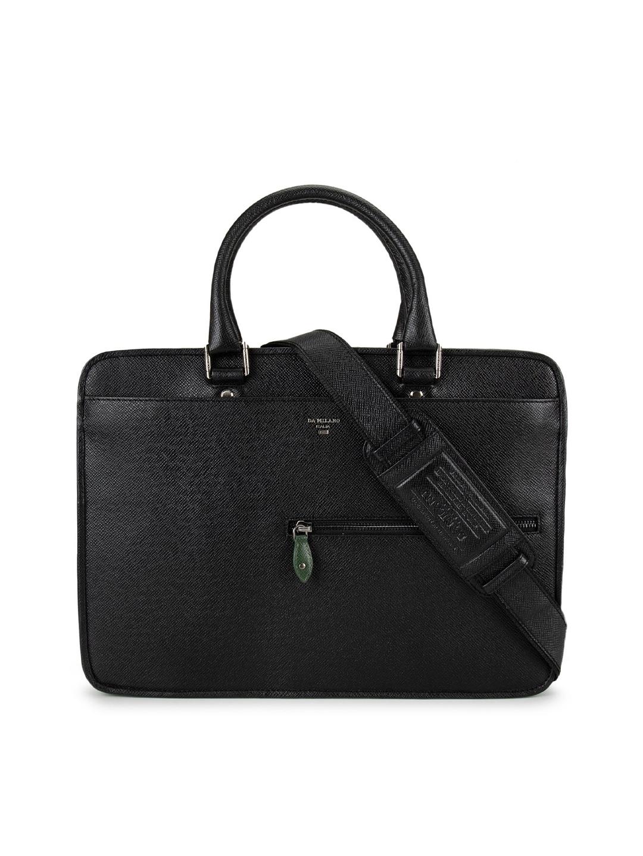 Da Milano Men Black Textured 13 Inch Leather Laptop Bag