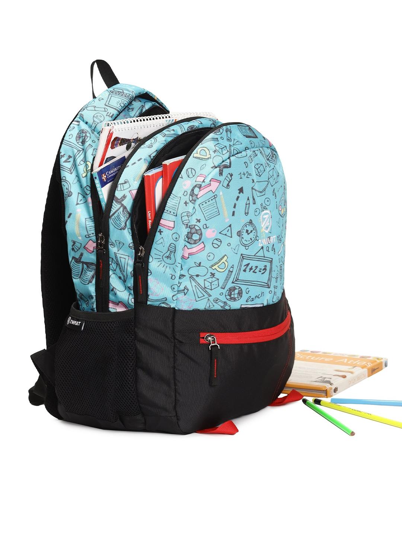Zwart Unisex Turquoise Blue   Black Graphic Backpacks