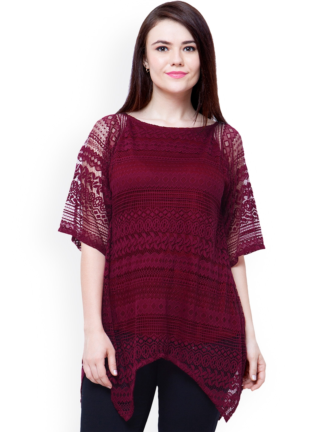 a5fc652dac4df Buy FabAlley Curve Maroon Lace Top - Tops for Women 1410928