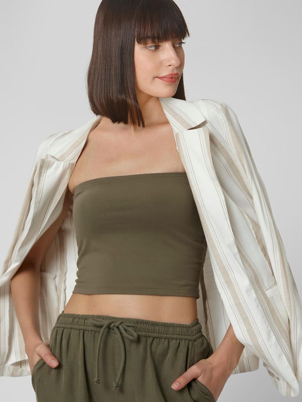 Vero Moda Women Green Solid Tube Top