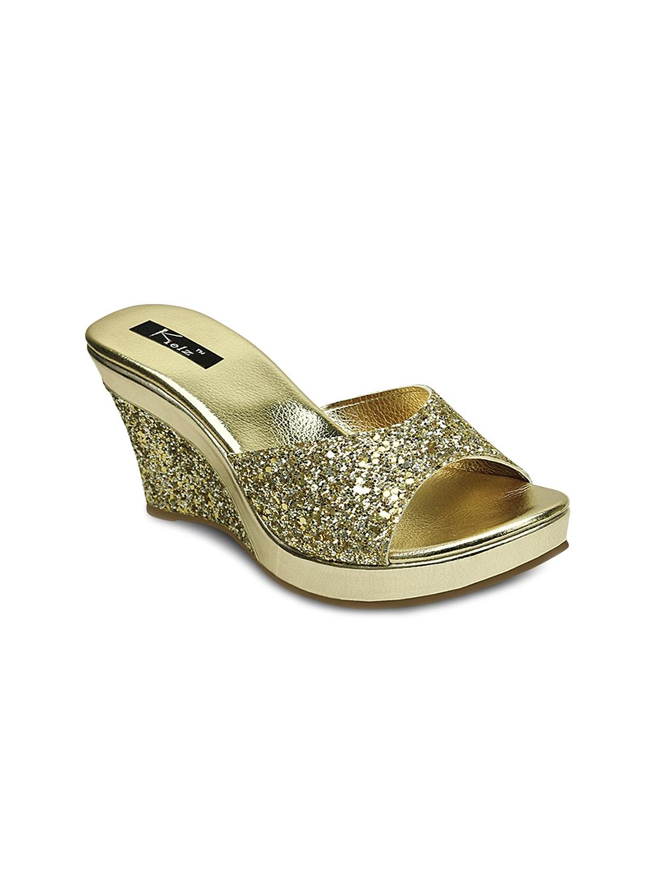 Kielz Women Gold Toned Wedges