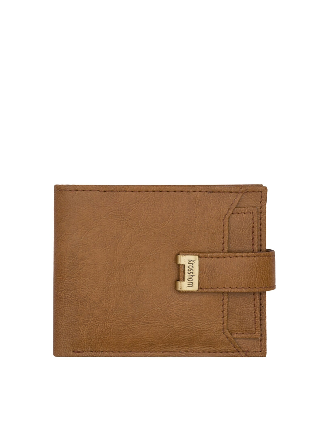 Krosshorn Men Tan Brown Solid RFID Protected Leather Two Fold Wallet