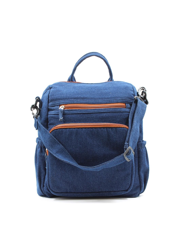 The Purani Jeans Unisex Blue   Orange Backpacks