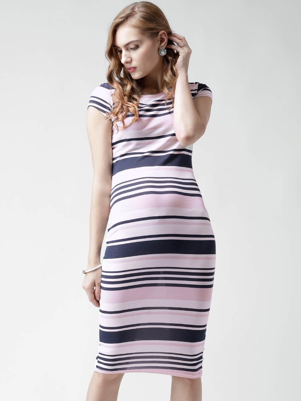 cc3e049ef85e Buy Boohoo Navy & White Striped Bodycon Midi Dress - Dresses for ...