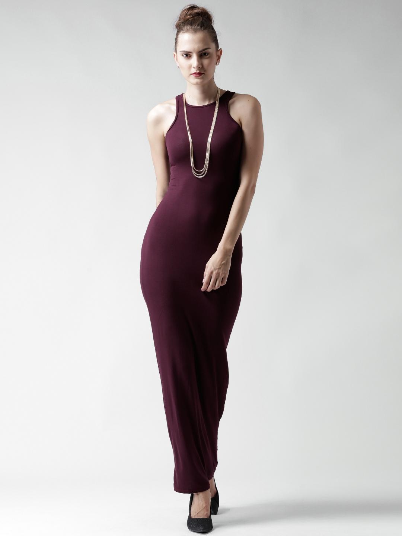732531b9c96f3 Buy Boohoo Burgundy Maxi Dress - Dresses for Women 1415206 | Myntra
