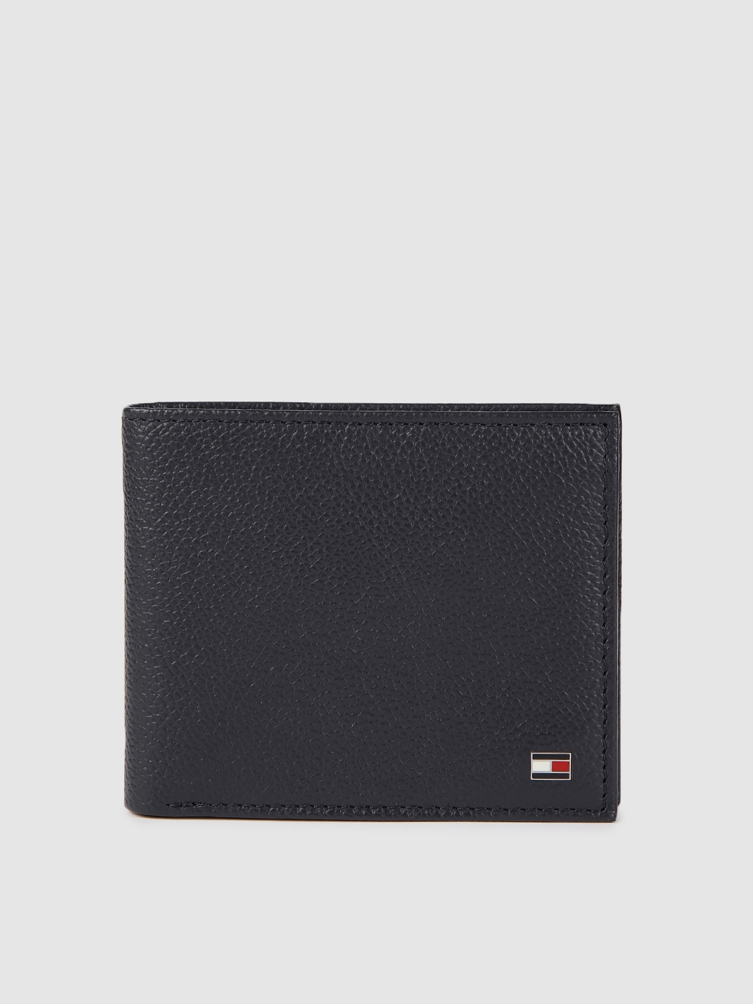 Tommy Hilfiger Men Blue Leather Textured Two Fold Wallet