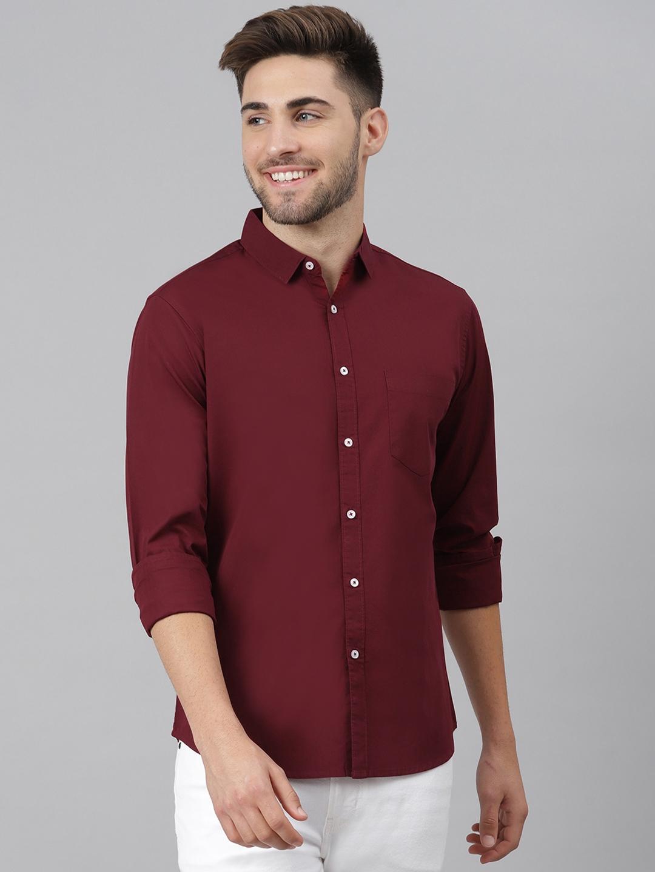Dennis Lingo Men Maroon Solid Slim Fit Cotton Casual Shirt