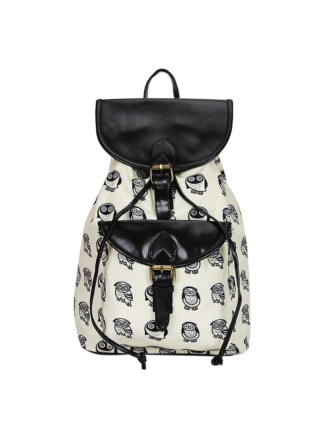 Lychee bags Women Printed Canvas Cream Backpack