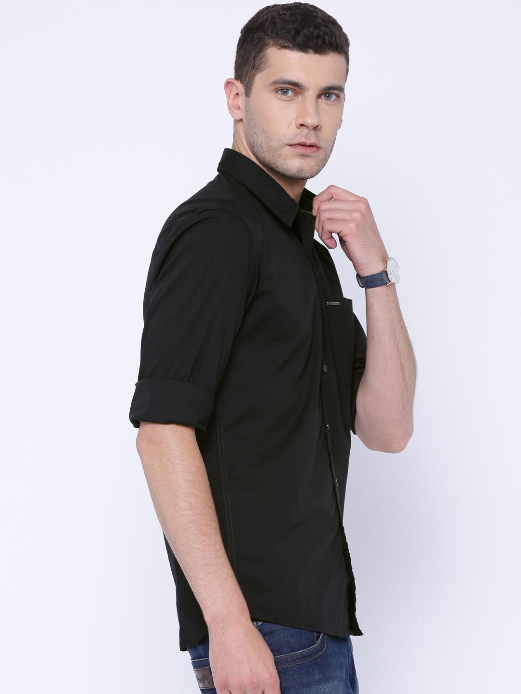 5c696a30 Buy Wrangler Black Slim Fit Casual Shirt - Shirts for Men 1419550 ...