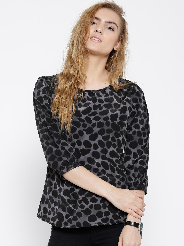 f325ca82127ee Buy Sera Black   Grey Polyester Animal Print Top - Tops for Women ...