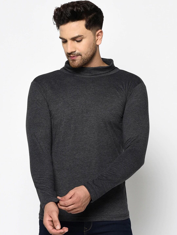 Rigo Men Charcoal Grey Solid Turtle Neck T shirt