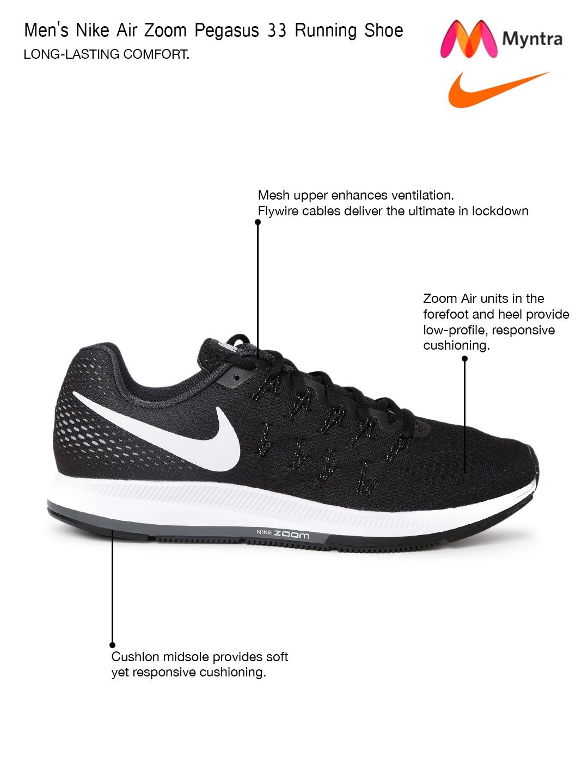 los angeles 71972 8bc1b Buy Nike Men Black Air Zoom Pegasus 33 Running Shoes - Sports Shoes ...