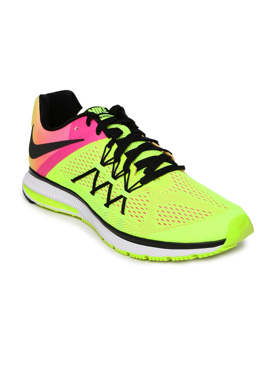 acc482730436 Buy Nike Men Fluorescent Green   Pink ZOOM WINFLO 3 OC Running Shoes ...