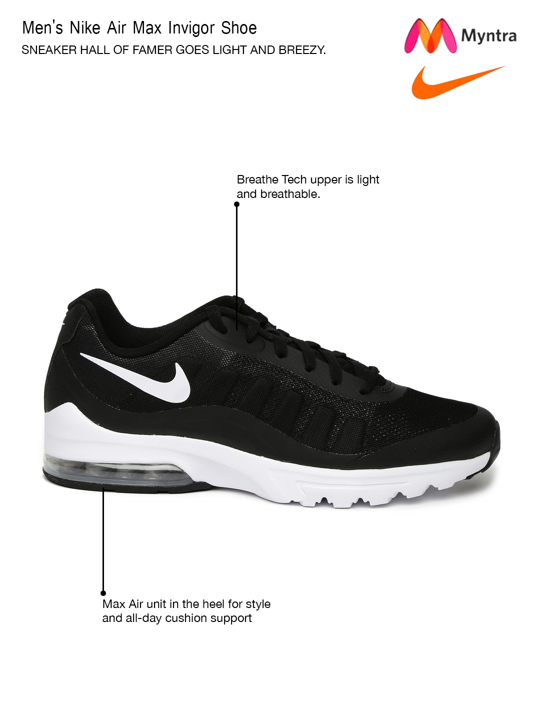 factory authentic 3b8bb 24d35 Nike Men Black Air Max Invigor Running Shoes