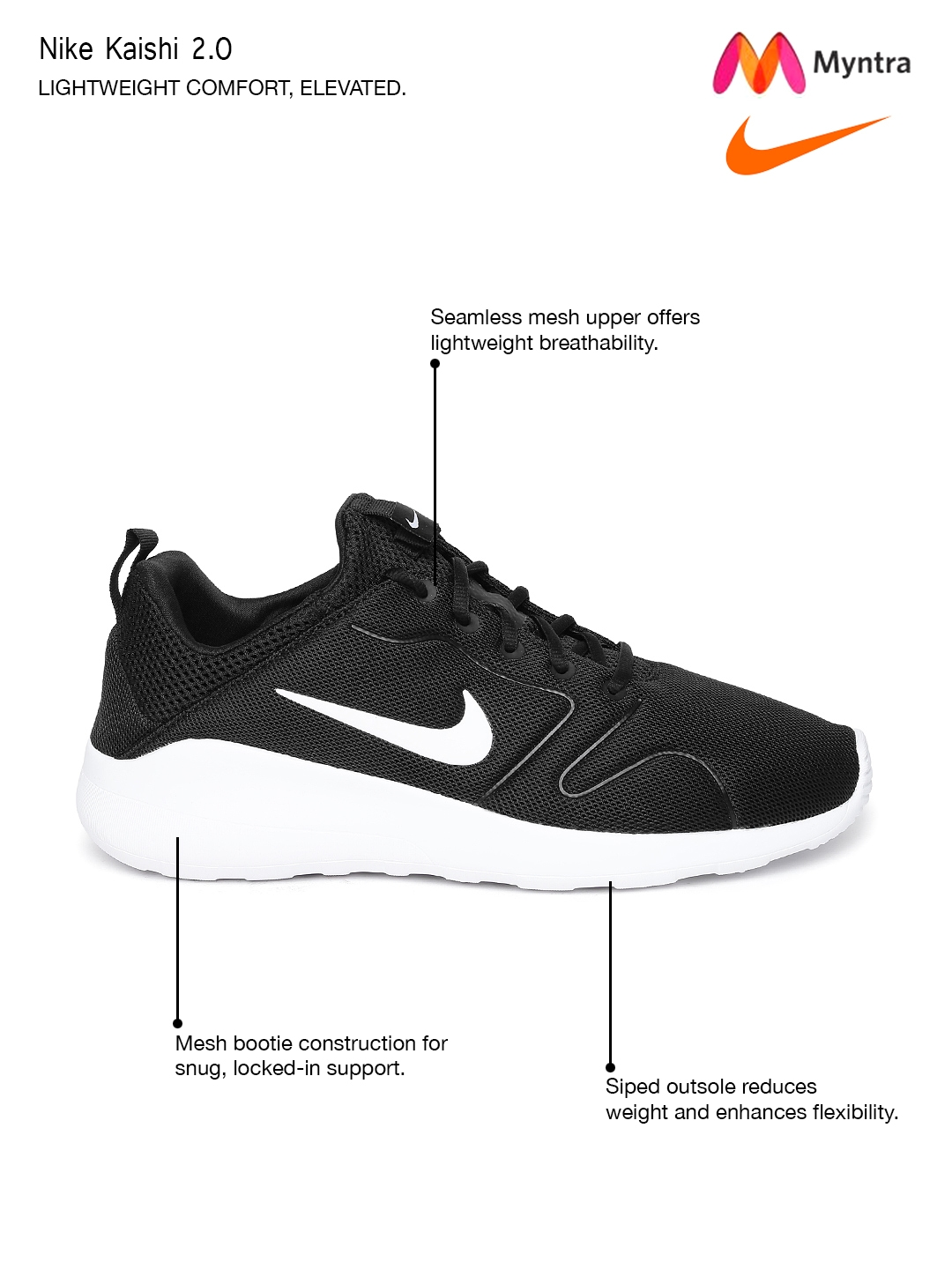new product d83dc b97db Nike Men Black Kaishi 2.0 Sneakers
