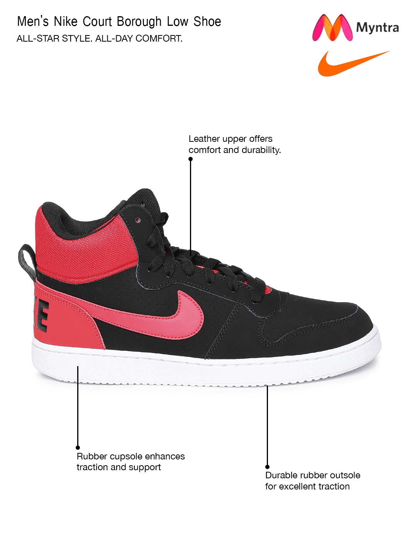 Buy Nike Men Black   Red Court Borough Suede Mid Top Sneakers ... 84691f414