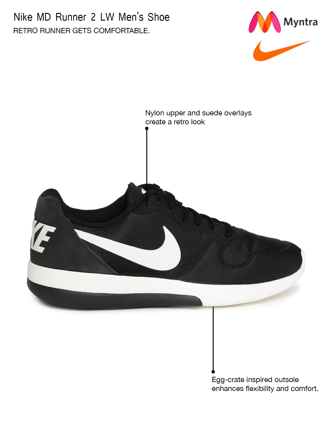 pretty nice f94a5 d60a7 Nike Men Black MD Runner 2 LW Casual Shoes