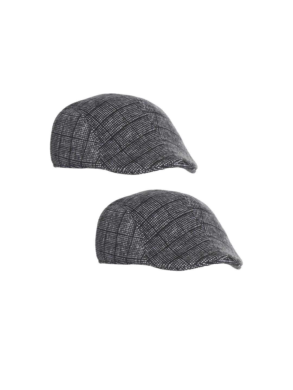FabSeasons Pack of 2 Unisex Black   Grey Self Design Ascot Cap