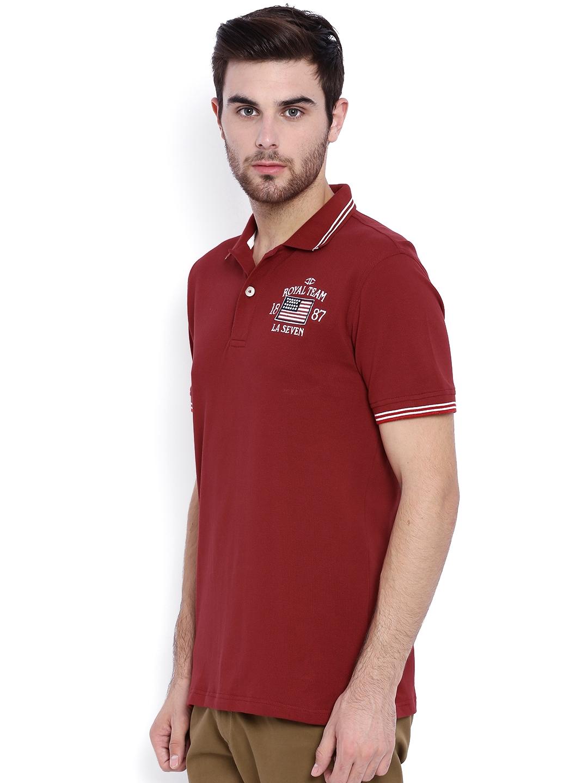 79b4d32a Buy L.A. SEVEN Maroon Slim Fit Polo T Shirt - Tshirts for Men ...
