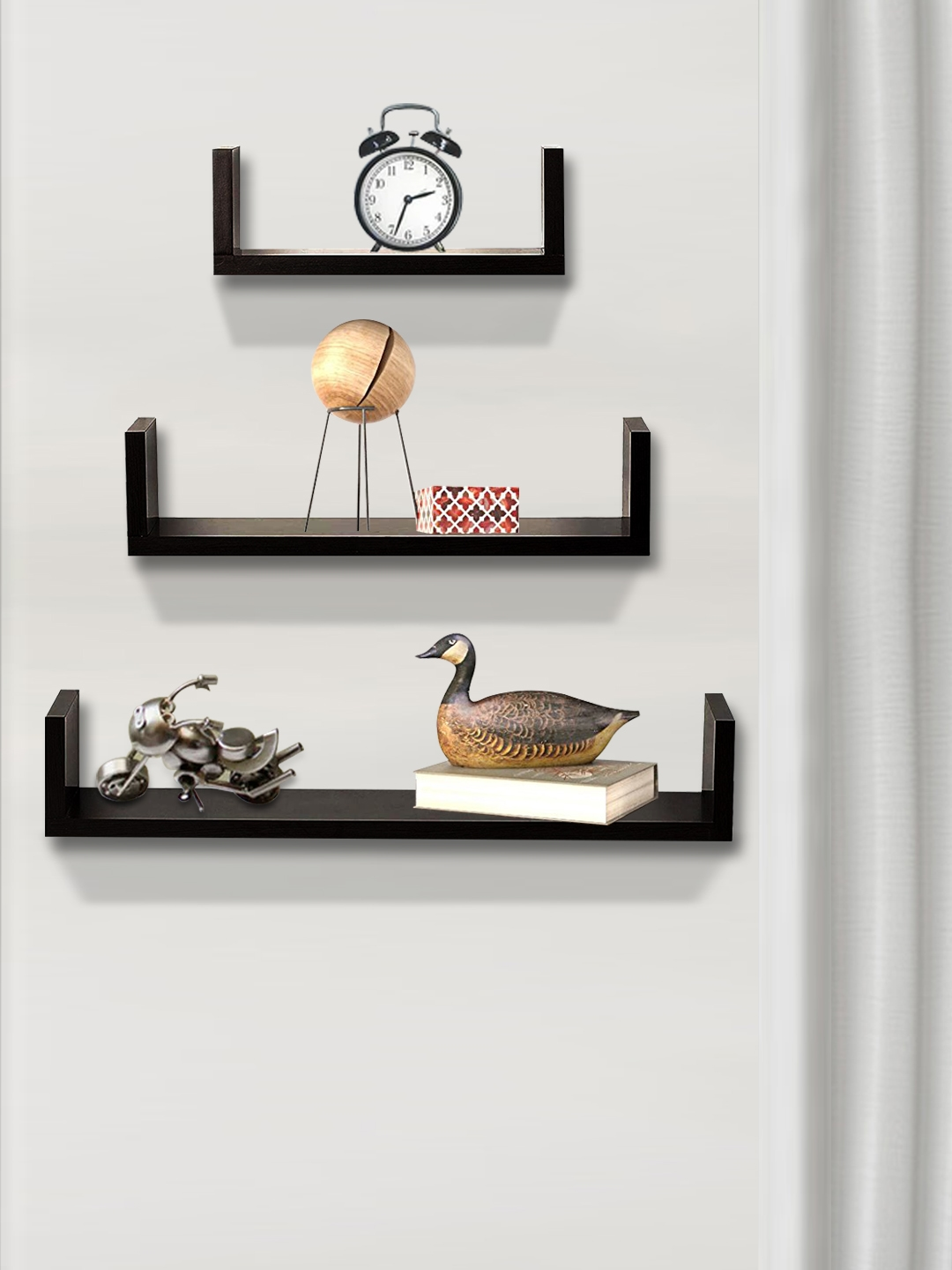 nestroots Brown Wood Basic Wall Shelves