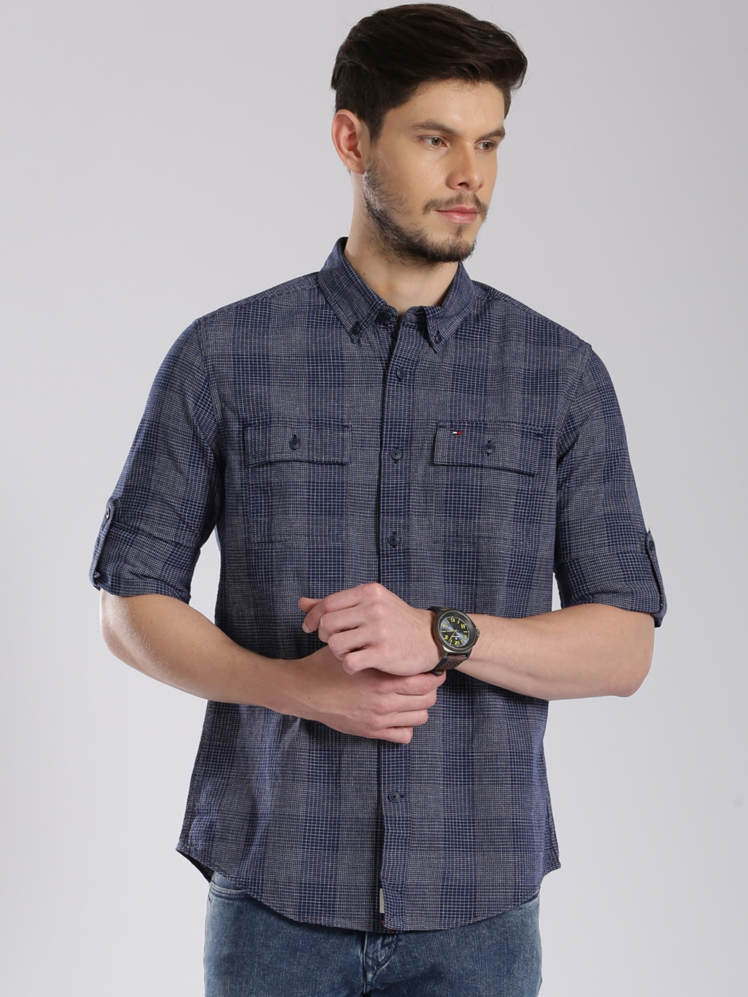 a5f6cab6 Buy Tommy Hilfiger Navy Checked Custom Fit Casual Shirt - Shirts for ...