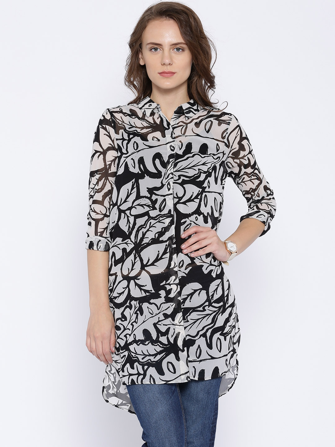 c40a47c48 Buy ONLY Black & White Printed Georgette Sheer Longline Shirt ...