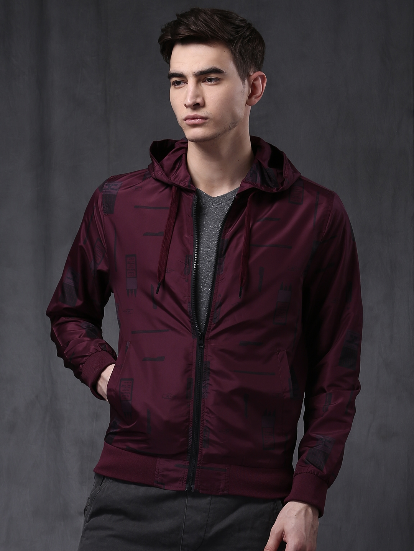 Buy Wrogn Burgundy Printed Bomber Jacket Jackets For Men Myntra