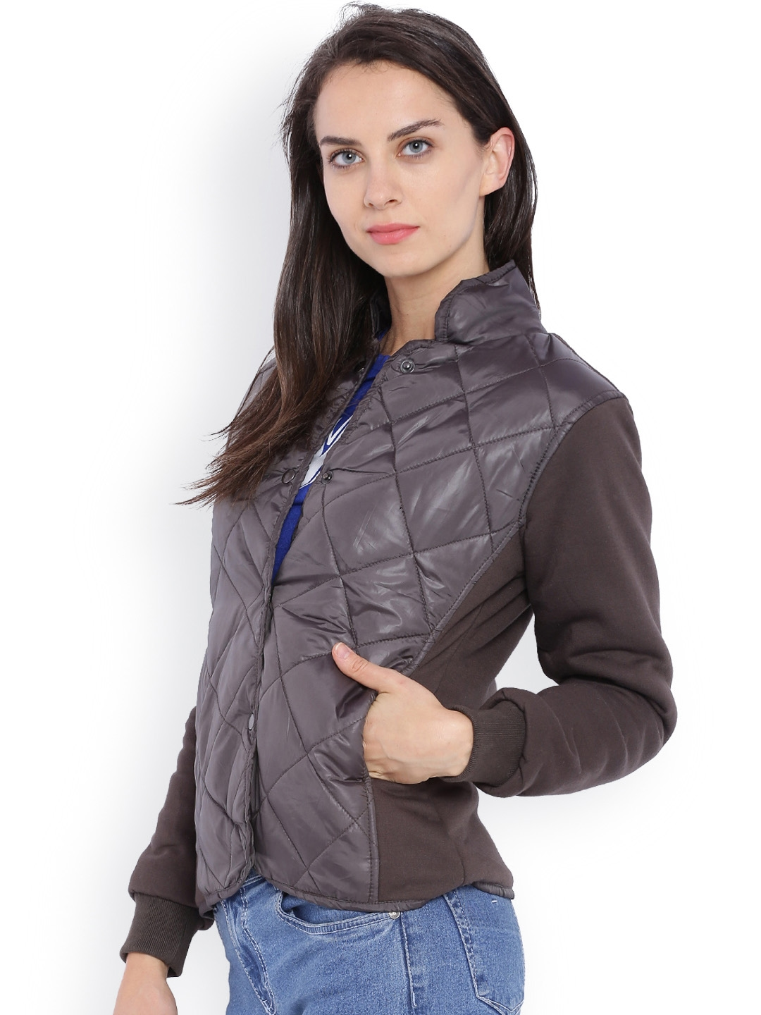 f7054bfde Buy Campus Sutra Grey Quilted Hooded Jacket - Jackets for Women ...