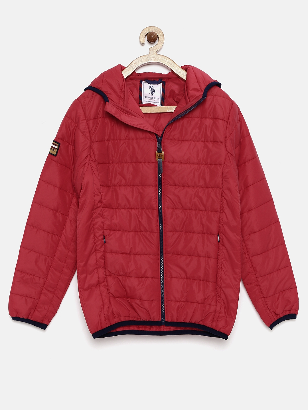 5a2a049b2e97 Buy U.S. Polo Assn. Kids Boys Red Hooded Padded Jacket - Jackets for ...