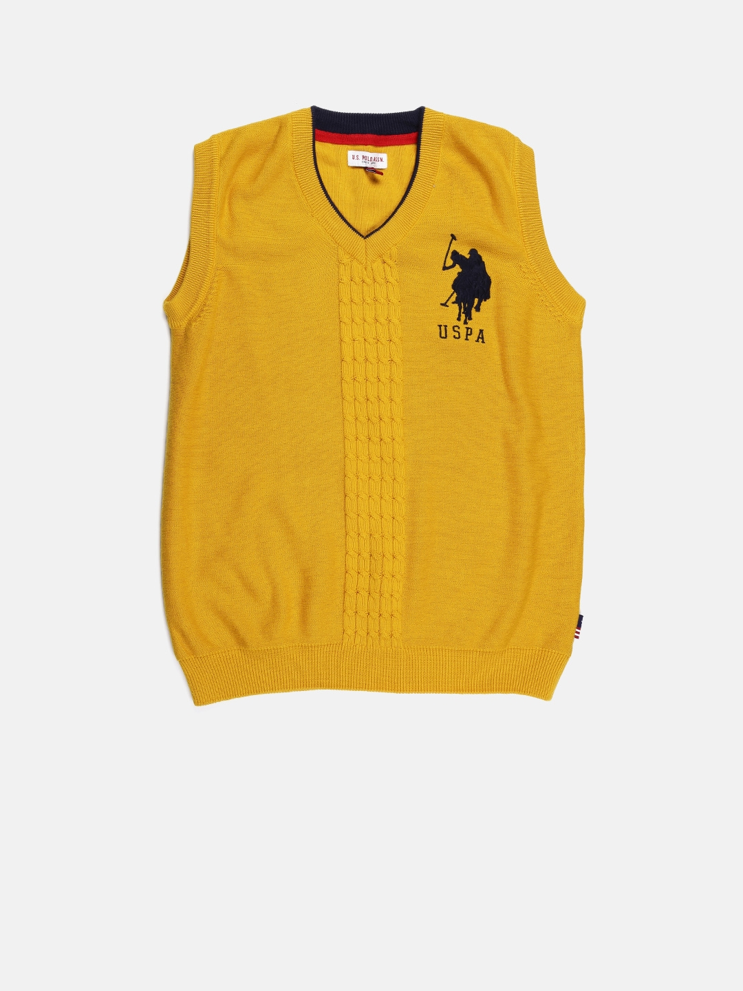 Buy U.S. Polo Assn. Kids Boys Yellow Sleeveless Sweater - Sweaters ...