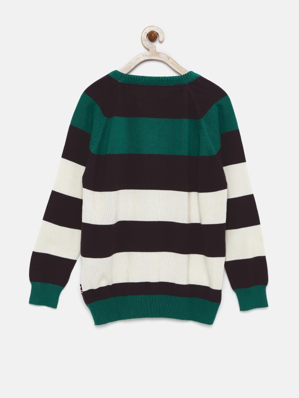 9bdb77b6f208 Buy U.S. Polo Assn. Kids Boys Green   Burgundy Striped Sweater ...