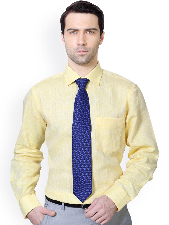 cac1cbcbf45 Buy Van Heusen Yellow Linen Custom Fit Formal Shirt - Shirts for Men ...