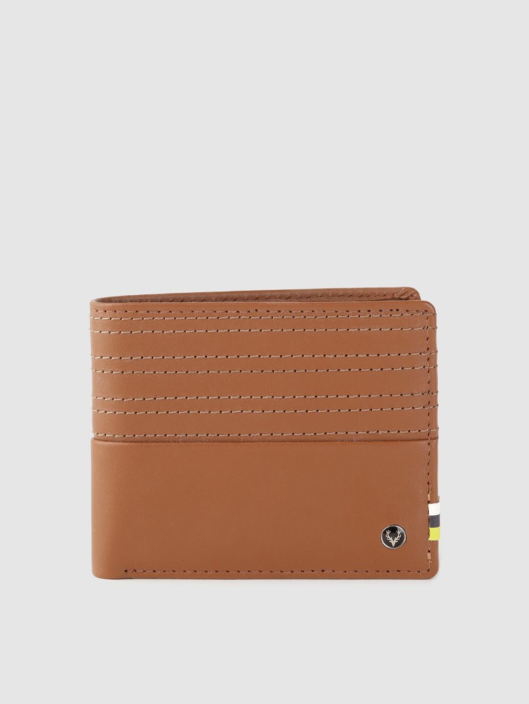 Allen Solly Men Tan Brown Striped Leather Two Fold Wallet