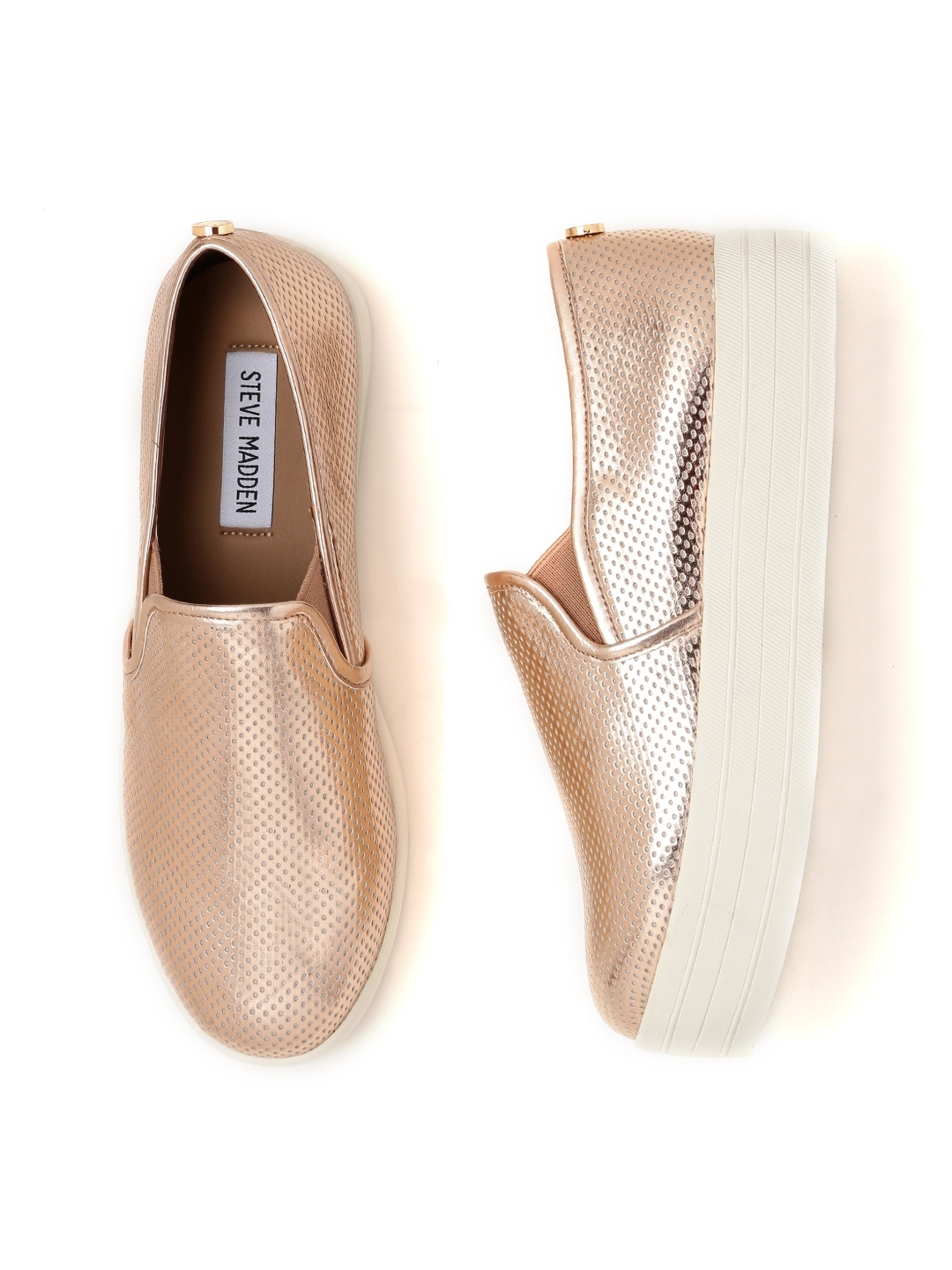 d5c1d35082b Buy Steve Madden Women Rose Gold Toned Flatform Slip On Sneakers ...