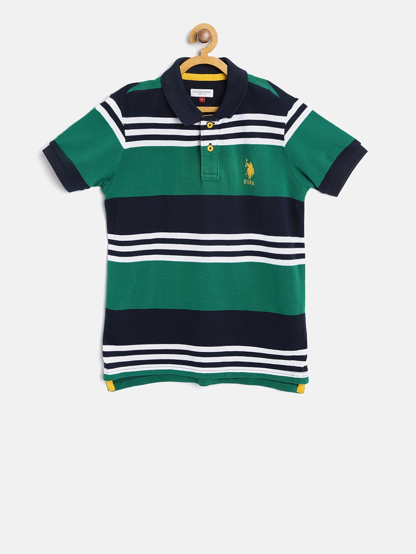 26b32735b1a Buy U.S. Polo Assn. Kids Boys Green & Navy Striped Polo Collar T ...