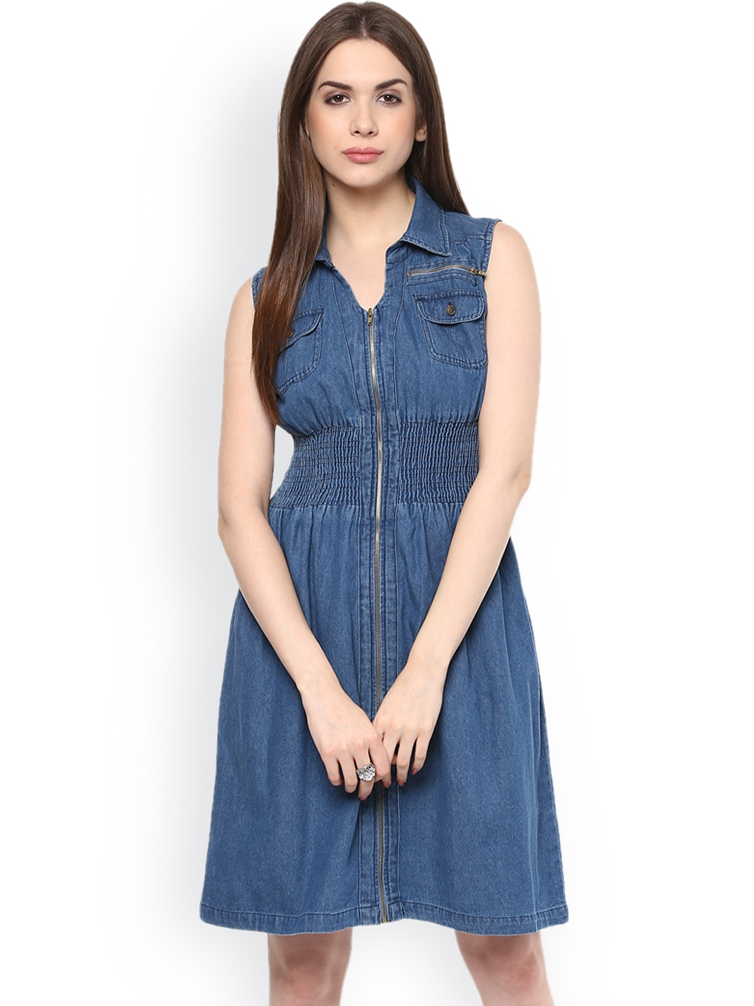 783dae3b86f81 Buy Style Stone Blue Denim Fit   Flare Dress - Dresses for Women ...