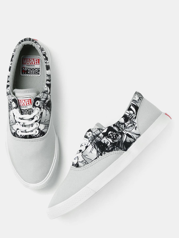 3945c68c3 Buy Kook N Keech Marvel Unisex Grey Printed Canvas Shoes - Casual ...