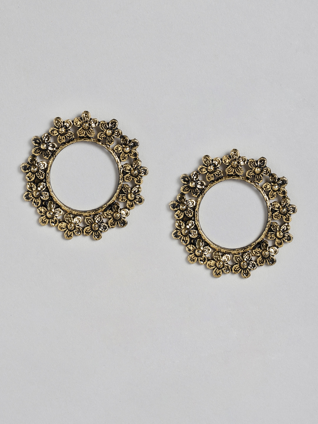Anouk Antique Gold Plated Circular Drop Earrings