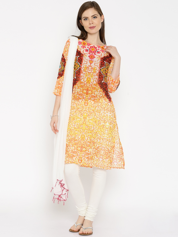 95bb459da6c Buy IMARA Off White   Orange Printed Kurta With Dupatta - Kurta Sets ...