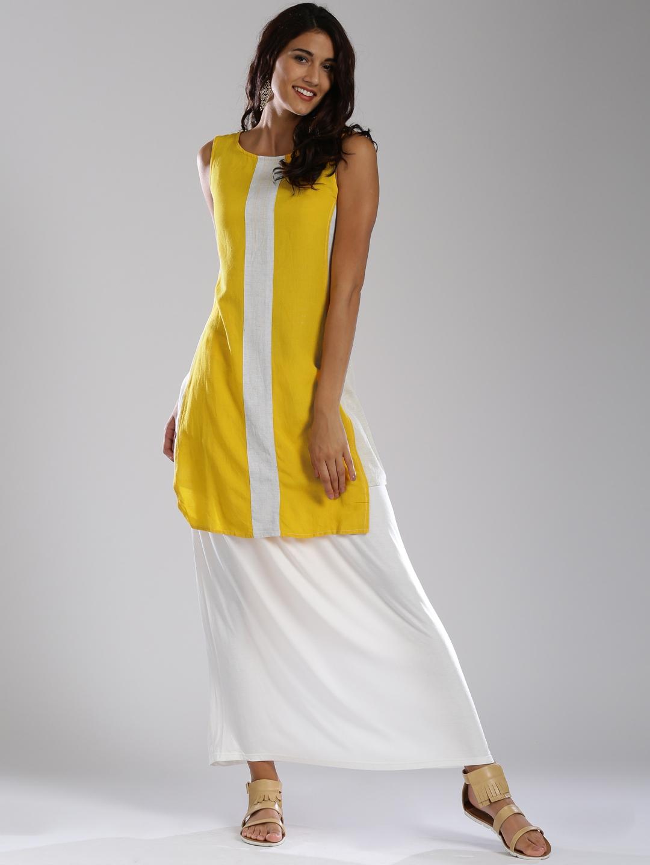 48127348765c Buy IMARA Yellow   White High Low Kurta - Kurtas for Women 1434370 ...